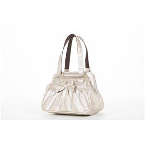 リボン付き木目調miniボストンバッグ/Couture/シャンパンゴールド/L-72151J - 拡大画像