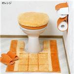 ボリュームたっぷりトイレフタカバー&足元マットセット オレンジ洗浄型