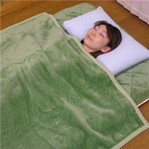 吸湿発熱掛け毛布(洗濯可) 約140×200cm グリーンS - 拡大画像