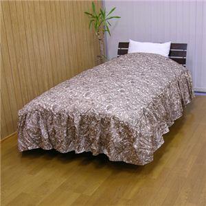 キルティングベッド用掛け布団カバー(フリルつき) セミダブル ブラウン 綿100% - 拡大画像
