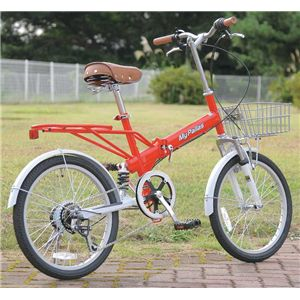 MYPALLAS(マイパラス) 折畳自転車20型6段Wサス M-60B RW レッドホワイト - 拡大画像