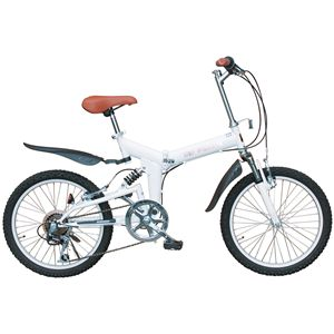 MYPALLAS(マイパラス) 折り畳み自転車 M-10 20インチ 6段変速 Wサス パールホワイト - 拡大画像