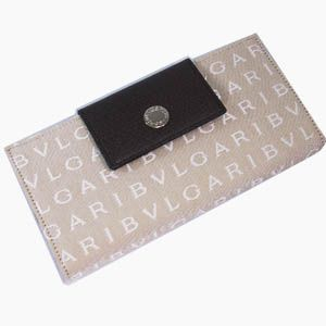 BVLGARI(ブルガリ) #22248 Woman wallet long treble 16 CC Lettere fabric beige/pigskin chocolate/P - 拡大画像