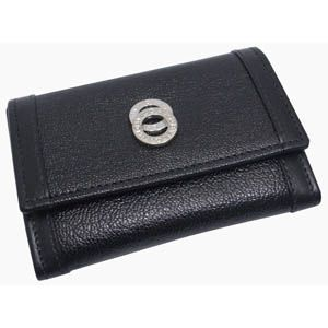BVLGARI(ブルガリ) #26276 Small coin 3 compartments Goat leather black/calf leather black/P - 拡大画像