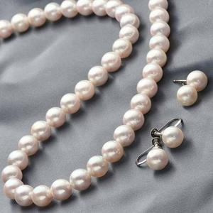 花珠本真珠(あこや真珠) 7.5-8mm パールネックレス+パールイヤリング2点セット 【本真珠】 - 拡大画像