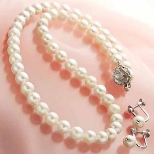 あこや真珠 6.5-7mm 2点セット(パールネックレス1点、ぶら下がりパールイヤリング1点 計2点セット) 【本真珠】 - 拡大画像