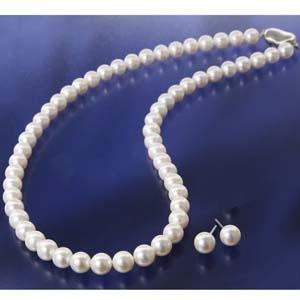 花珠真珠(あこや真珠) パールネックレス&パールピアス 7〜7.5mm玉  - 拡大画像