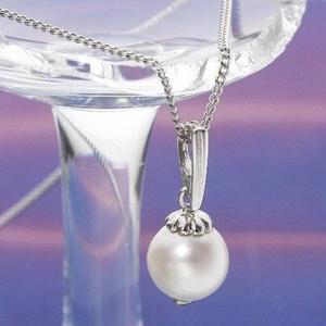 和珠本真珠 9.0〜9.5mm シルバーチェーン パールペンダント ホワイトピンク - 拡大画像