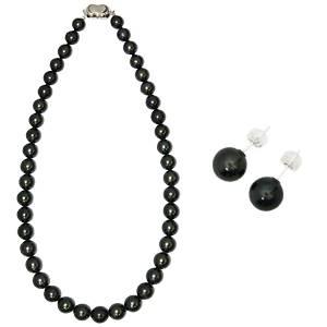 【訳あり・在庫処分】【鑑別付】タヒチ産真珠 T-1 8〜10mm ネックレス+ピアスセット(ケース付) - 拡大画像