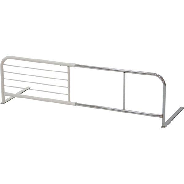 スライドベッドガード (横伸縮式) スチール 幅95〜120cm×奥行40cm×高さ35.5cm WH ホワイト(白)