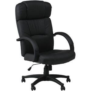 デスクチェア(椅子)/プレジデントチェアー スチール/合成皮革 昇降機能/肘掛け/キャスター付き W-99 ブラック(黒) - 拡大画像