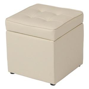収納BOX付きボックススツール 木製/合成皮革 幅36cm×奥行36cm×高さ38cm BT-099 アイボリー - 拡大画像