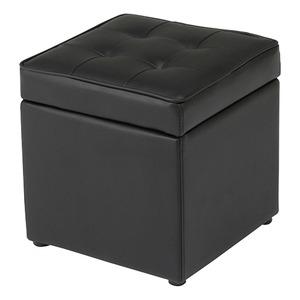 収納BOX付きボックススツール 木製/合成皮革 幅36cm×奥行36cm×高さ38cm BT-099 ブラック(黒) - 拡大画像