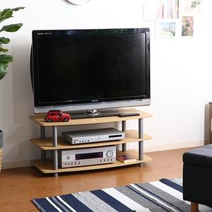 TVラック(テレビ台/テレビボード) 3段 【幅90cm:26型〜40型対応】 収納棚付き 木目調【組立品】