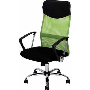 デスクチェア(椅子)/メッシュバックチェアー ガス圧昇降機能/肘掛け/キャスター付き HF-98GR グリーン(緑)【組立品】 - 拡大画像