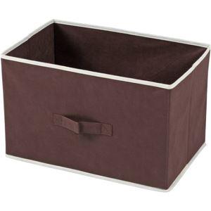 収納ボックス/不織布製インナーボックス 横型 取っ手付き 幅39cm×奥行25cm×高さ25cm BR ブラウン 【6個セット】
