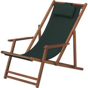 折りたたみ式デッキチェア 木製(アカシア) 高さ調整可 VFS-GC29JP グリーン(緑) (室内/屋外/ガーデン)