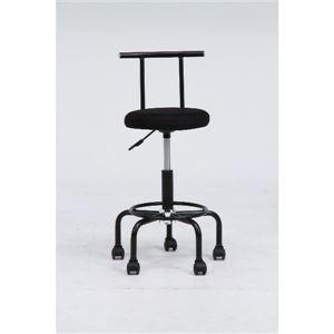 デスクチェア(椅子)/ラクラクチェアー ガス圧昇降機能/キャスター付き BK ブラック(黒)【組立品】 - 拡大画像