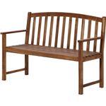 木製ベンチ 天然木(アカシア/オイルステイン仕上げ) 背もたれ/肘掛け付き [室内/屋外/ガーデニング]