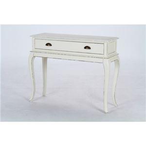 サイドテーブル/ノーブル デスク1段 ワイド 木製(パイン材) 引き出し収納付き (インテリア家具)