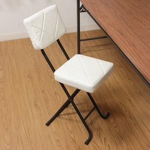 折りたたみ椅子/フォールディングチェア 【ホワイト】 コンパクト 『KIRTO キルト』 【4個セット】 - 拡大画像