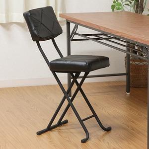 折りたたみ椅子/フォールディングチェア 【ブラック】 コンパクト 『KIRTO キルト』 【4個セット】 - 拡大画像