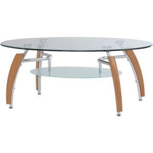 強化ガラス製センターテーブル 【アーク】 丸型 棚板収納付き NA ナチュラル