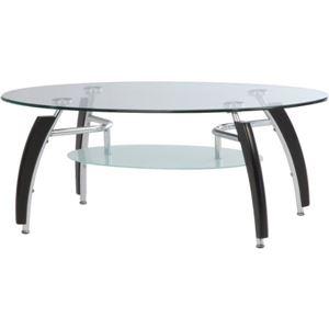 強化ガラス製センターテーブル 【アーク】 丸型 棚板収納付き BR ブラウン【組立品】 - 拡大画像