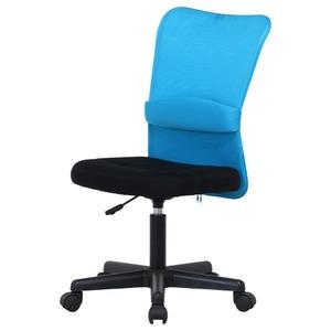 デスクチェア(椅子)/メッシュバックチェアー ハンター ガス圧昇降機能付き キャスター付き BL ブルー(青) - 拡大画像