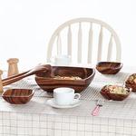 アカシアボウルセット(スプーン&フォーク付き) A スクエア 木製 (アウトドア/キッチン用品)