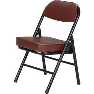 背もたれ付き ミニチェア/折りたたみ椅子 【ブラック×ブラウン】 スチール 合成皮革 コンパクト 【6個セット】 - 拡大画像