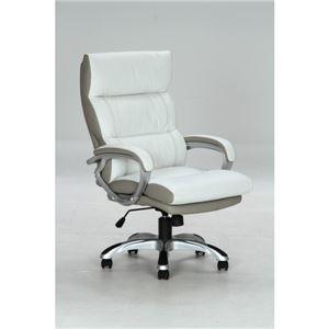 リクライニングデスクチェア(椅子) 昇降機能付き 【マリーノ】 肘掛け/キャスター付き WH ホワイト(白)【組立品】 - 拡大画像