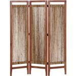 パーテーション/アバカ材スクリーン3連 高さ150cm 木製(籐) アジアン調 ブラウン 【完成品】