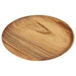 北欧風 アカシア製ラウンドトレー/トレイ 【XLサイズ ブラウン】 直径254mm 円形 木製 〔キッチン ダイニング〕