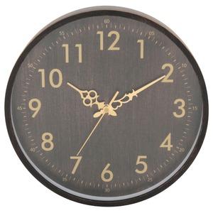 北欧風 アンティーク時計/クロック 【ブラック】 幅30.4cm 木製 台湾製ムーブメントステップ採用 - 拡大画像