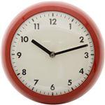 北欧風 レトロクロック/時計 【レッド】 幅23.5cm スチール・ガラス製 〔リビング ダイニング〕