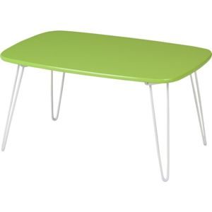 アート風 ドット柄ローテーブル/コーヒーテーブル 【幅60cm グリーン】 折りたたみ 〔リビング ダイニング〕