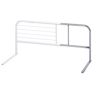 スライドベッドガード/ベッドフェンス 【横伸縮6段階 ハイタイプ ホワイト】 幅95cm×高さ45cm 厚めマットレス対応 【完成品】