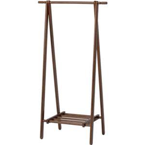 モダン調 ハンガーラック/コートハンガー 【ブラウン】 幅80cm 折りたたみ 収納棚付き 木製