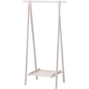 モダン調 ハンガーラック/コートハンガー 【ホワイト】 幅80cm 折りたたみ 収納棚付き 木製