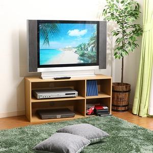 テレビラック/テレビ台 【ナチュラル】 幅89cm 24型〜37型対応 収納棚付き