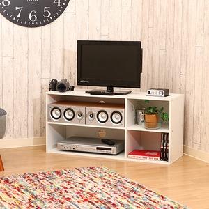 テレビラック/テレビ台 【ホワイト】 幅89cm 24型〜37型対応 収納棚付き