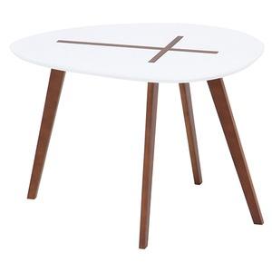 北欧風 サイドテーブル/ローテーブル 【幅60cm ホワイト】 木製 『クローセ』 〔リビング〕 - 拡大画像