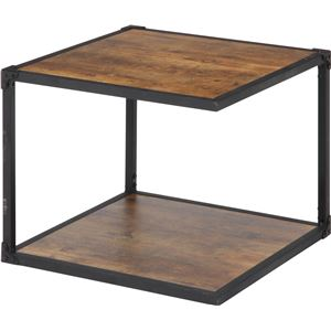 北欧風 サイドテーブル/ローテーブル 【幅50cm ブラウン】 収納棚付き 『クルト』 - 拡大画像