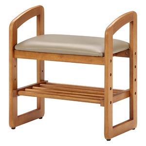 和モダン風 サポートチェア/玄関椅子 【ブラウン】 幅50cm 高さ調整可 収納棚付き 張地:合成皮革/合皮 木製フレーム