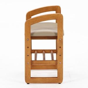和モダン風 サポートチェア/玄関椅子 【ブラウン】 幅50cm 高さ調整可 収納棚付き 張地:合成皮革/合皮 木製フレーム - 拡大画像