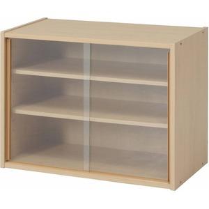 北欧風 ミニ食器棚/キッチン収納 【幅60cm】 メープル ガラス製引き戸付き