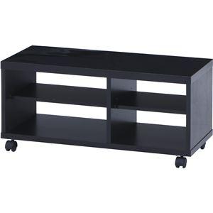 鏡面テレビ台/テレビボード 【ブラック】 幅80cm 24型〜37型対応 収納棚 キャスター付き