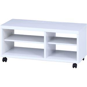 鏡面テレビ台/テレビボード 【ホワイト】 幅80cm 24型〜37型対応 収納棚 キャスター付き