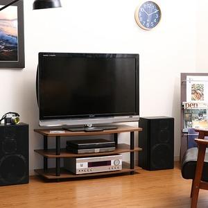 テレビラック/テレビ台 【ブラウン】 幅90cm 収納棚 脚付き